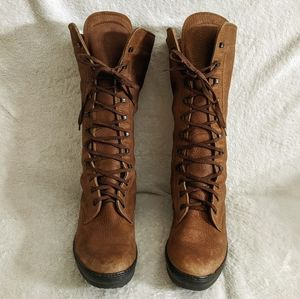 Todd's Midcalf Laceup Suede Leather Boots, Sz 38